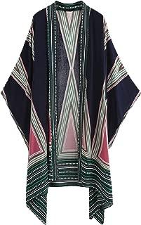 SweatyRocks Women Kimono Vintage Floral Beach Cover Up