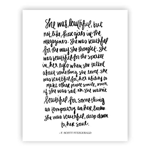 Image of: Hanquotes She Was Beautiful F Scott Fitzgerald Print Art Love Quotes Inspirational Gallery Wall Office Pure Love Quotes Amazoncom She Was Beautiful F Scott Fitzgerald Print Art Love