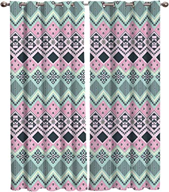 "SIMIGREE Window Curtains India Elements Troditional Geometry Window Treatment Thermal Insulated Fabric Curtains for Living Room Bedroom Sliding Patio Door Kitchen Window Drapes 40""x84"" X 2 Panels"