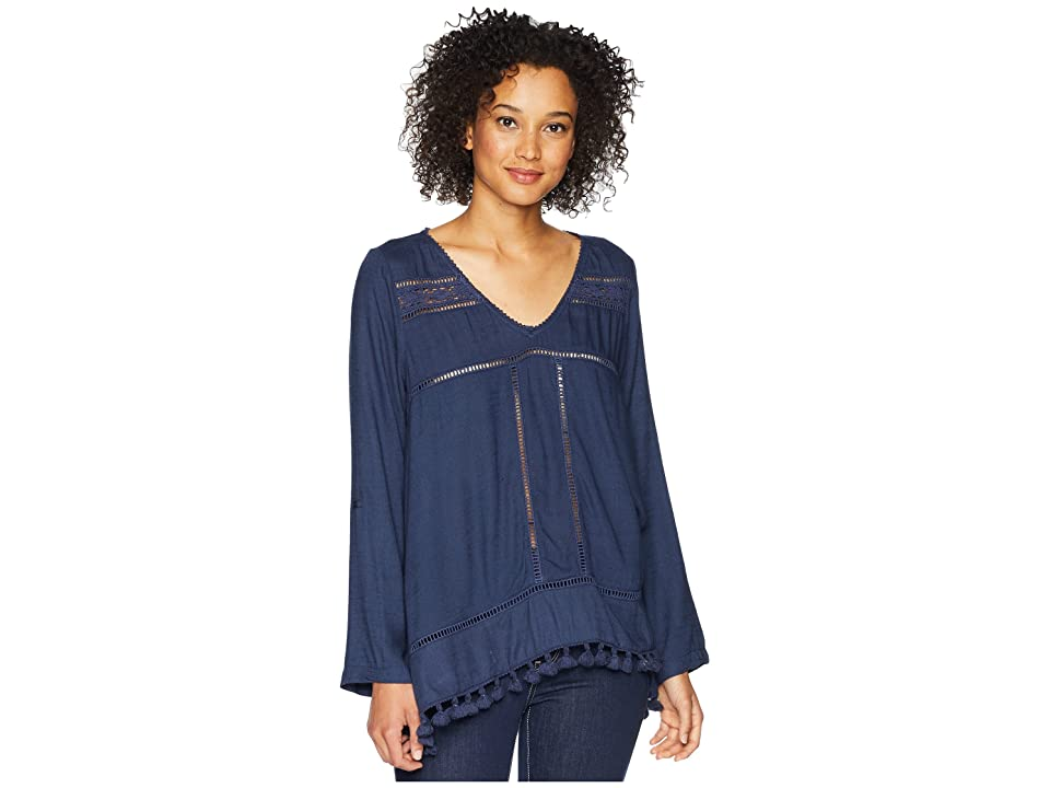 Dylan by True Grit Riley Roll Long Sleeve with Tab and Crochet Tassels (Indigo) Women's Long Sleeve Pullover
