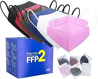 FFP2 Maske CE Zertifiziert - 6 Farbe 30 Stück Masken - Schwarz Rot Blau Rosa Weiß Grau Premium hygienische Einzelnverpacku...