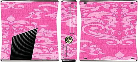 Pink Damask Vintage Effect Pattern Background Vinyl Decal Sticker Skin by Moonlight4225 for Xbox 360 Slim (2010)