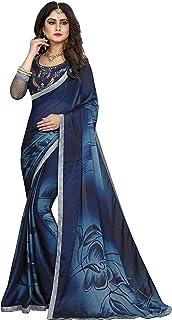 Gaurangi Creation Women's Chiffon Printed Saree with Unstitched Blouse Piece