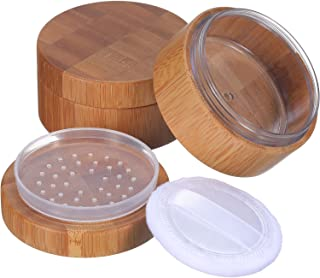 Frienda 2 Pack 30 ml Empty Powder Case Bamboo Cosmetic Make-up Loose Powder Box Case Container Holder with Sifter Lids and...