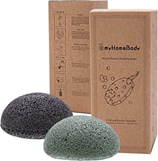 Natural Konjac Facial Sponge with Activated Charcoal and Aloe Vera 4 Pack