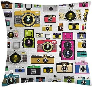 RP Amazing Fundas De AlmohadaFunda De Almohada Vintage Cámaras Fotográficas Antiguas Y Antiguas Estudio Artístico Hobby Diseño Gráfico Temático 50X50Cm
