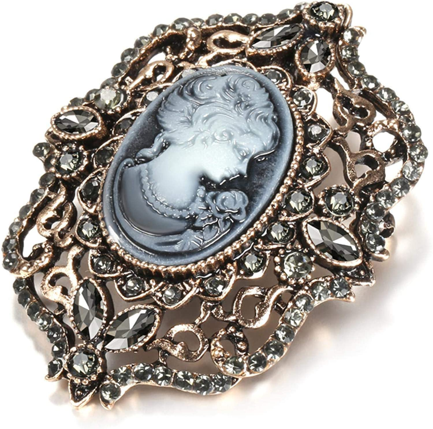 QDGERWGY Fashion Sale price Gray Crystal Brooch Fe Now free shipping for Ethnic Bohemia Women