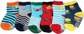 6-pack Baby Kids Boys Cotton Rich Non-slip Sea Creature Striped Socks
