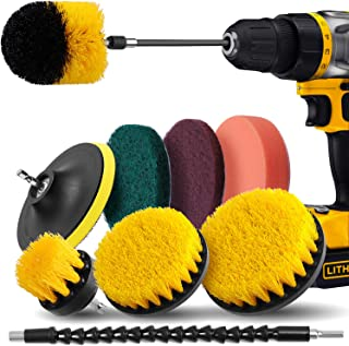 Drill Brush Attachment Set - Power Scrubber Drill Brush Kit, 10 Piece,Scrub Pads & Sponge,Power Scrubber Brush with Extend Long Attachment for Grout,Tiles,Sinks,Bathtub,Bathroom,Kitchen & Automoblie