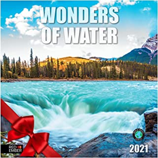 """Wonders of Water 2021 Wall Calendars by Red Ember Press - 12"""" x 24"""" When Open - Thick & Sturdy Paper - Water is Life"""