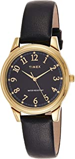 Timex Women's Quartz Watch, Analog Display and Leather Strap TW2R87100