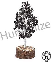 Humanize Reiki Sanación Espiritual Decoración de Mesa Alambre de Plata Negro Turmalina Árbol Feng Shui Regalo Vastu Decoración de Mesa Árbol