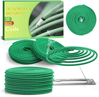 LABELLEFÉE Citronella Coils, Citronella Incense, Made with Citronella, Lemongrass, Set of 48 Coils for Camping Trips, Back...