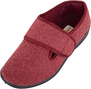 ABSOLUTE FOOTWEAR Womens Slip On EE Wide Fitting Slippers/Shoes with Ripper Fastening