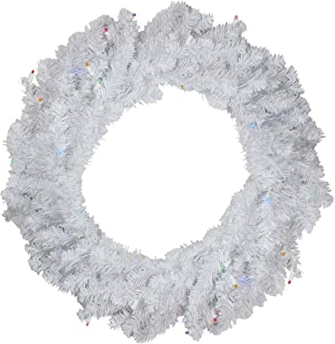 "Northlight 36"" White Pre-Lit Pine Battery Operated LED Artificial Christmas Wreath - Multicolor Lights"