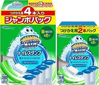 【Amazon.co.jp 限定】【まとめ買い】 スクラビングバブル トイレ洗浄剤 トイレスタンプ フレッシュソープの香り 付替用(2本入り)+ジャンボパック(4本入り) 6本セット 36スタンプ分