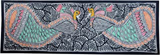 Framed Handpainted Two Peacock Loving Madhubani Painting On Handmade Paper Depicting Stories from India Folklore Made by Artist of Bihar with History Which Dates Back from The Days of Ramayana