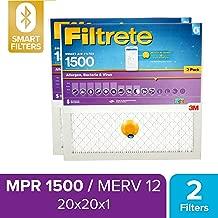 Filtrete 20x20x1 Smart Air Filter, MPR 1500, Allergen, Bacteria & Virus AC Furnace Air Filter, 2-Pack