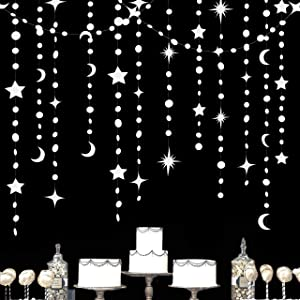 52Ft White Star Moon Circle Dot Garland Party Decoration Hanging Crescent Twinkle Little Star Streamer Bunting Banner for Wedding Engagement Anniversary Bridal Shower Kids Birthday Baby Shower Decor