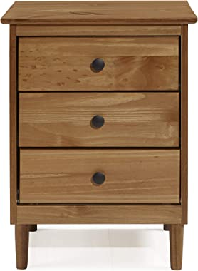 Walker Edison Traditional Wood 3 Drawer Nightstand Side Table Bedroom Storage Drawer and Shelf Bedside End Table, 18 Inch, Ca
