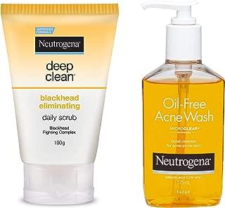 Neutrogena Deep Clean Blackhead Eliminating Daily Scrub, 100g and Neutrogena Oil Free Acne Face Wash, 175ml