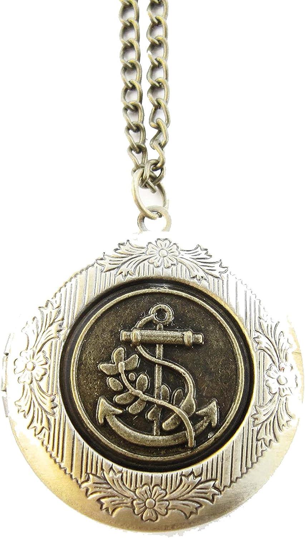 2Pcs Bronze Anchor Locket Necklace Sailboat Locket Vintage Necklace Nautical Locket Secret Locket Ocean Locket