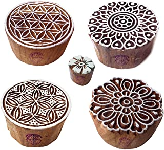 Royal Kraft Round and Flower Wood Print Stamps (Set of 5) to Make Henna Tattoos, Textile Block Prints, Scrapbook & Clay Projects