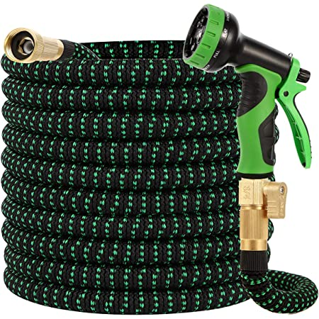Buheco Garden Hose 100ft-Water hose with 9 Function Spray Nozzle and Durable 3/4 inch Solid Brass Fittings No Kink Flexible Lightweight Outdoor Long Retractable Hose Pipe Set