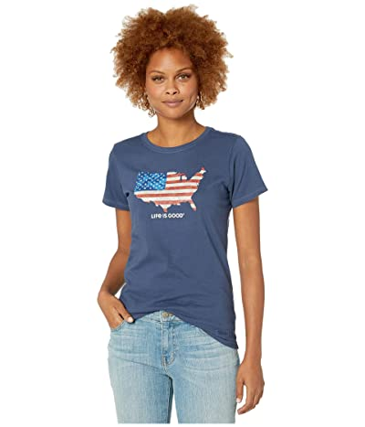 Life is Good Digital Camo Flag Crusher Tee (Darkest Blue) Women