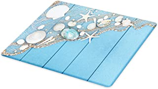 Lunarable Tropical Cutting Board, Seashells on a Fishing Net Wooden Blue Background Pearls Scallop Starfish Aquatic, Decorative Tempered Glass Cutting and Serving Board, Large Size, White Blue