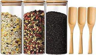 Yangbaga 3 pcs Grand Bocal en Verre,Pot en Verre avec Vouvercle en Bambou et Cuillère en Bambou, Pot de Rangement avec Eti...