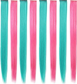 Rhyme 20'' 8PCS Color Hair Pieces for Girls Party Highlight Colored Hair Extensions Clip in/On for America Girls and Kids (Teal Pink)