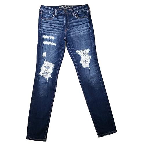 07855fa1d3b American Eagle Jegging Jeans Low Rise Dark Ripped Super Stretch X Sapphire  Mist Short Inseam 27