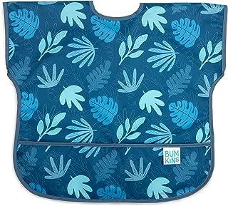 Bumkins Junior Bib/Short Sleeve Toddler Bib/Smock, Waterproof, Washable, Stain and Odor Resistant, 1-3 Years – Blue Tropic