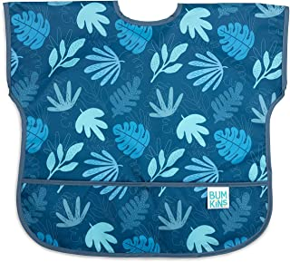 Bumkins Junior Bib/Short Sleeve Toddler Bib/Smock 1-3 Years, Waterproof, Washable, Stain and Odor Resistant – Blue Tropic