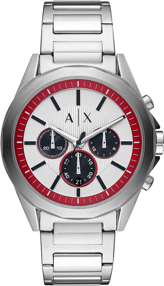 Armani exchange, orologio, cronografo da uomo, in acciaio inossidabile AX2646