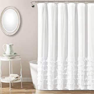 "Lush Decor Avery Shower Curtain Ruffled Shabby Chic Farmhouse Style Bathroom, 72"" x 72"", White"