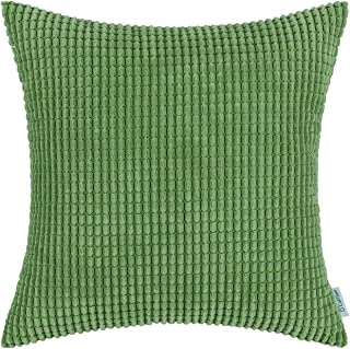 CaliTime Cozy Throw Pillow Cover Case for Couch Sofa Bed Comfortable Supersoft Corduroy Corn Striped Both Sides 16 X 16 Inches Forest Green