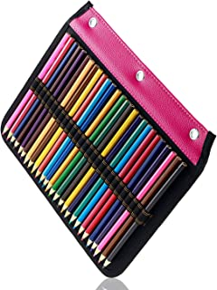 YOUSHARES 54 Slots Pencil Sleeve - Standard 3 Ring Binder Designed Pencil Page Compatible with 216 Slots Pencil Case for Watercolor Pencil, Gel Pen & Cosmetic Brush (Red)