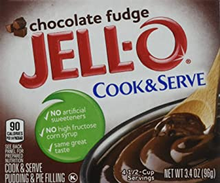 JELL-O Chocolate Fudge Cook & Serve Pudding & Pie Filling Mix (3.4 oz Boxes, Pack of 6)