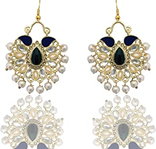 Moonstruck Traditional Indian Chandbali Kundan Hoop Earrings With Pearls for Women (Purple)