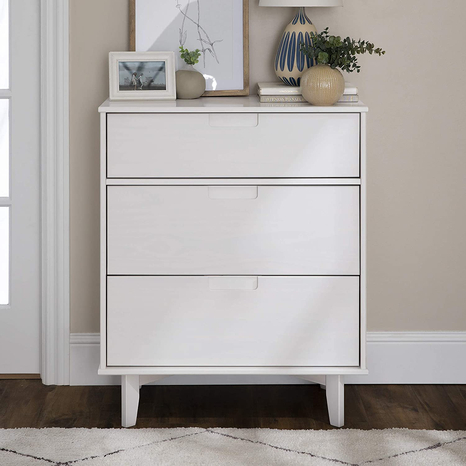 Choice 3-Drawer Groove Free shipping anywhere in the nation Handle Wood - White Dresser