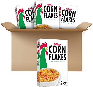 Kellogg's Corn Flakes Breakfast Cereal, Original, Fat Free, 12 oz Box (4 Boxes)