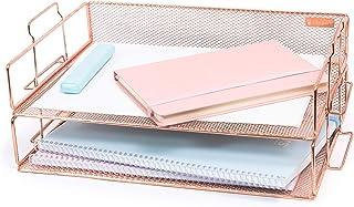 Rosework Rose Gold Letter Tray - 2 Tier Rose Gold Desk...