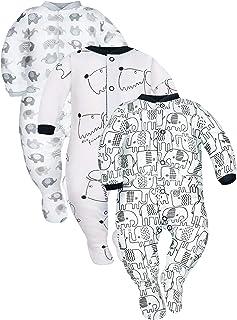 Sibinulo Jungen Mädchen Baby Schlafstrampler Babykleidung Set Größen 0 bis 24 Monate 9-24 mit rutschfest, 3er Pack Mischen