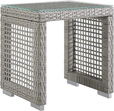 Modway EEI-2922-GRY Aura Outdoor Patio Wicker Rattan Side Table, Gray Gray