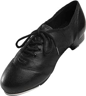 Black Soft Leather Split Sole Jazz Tap Shoes