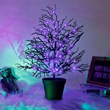 """Adroiteet Halloween Decoration LED Spooky Tree with Purple Lights, 20"""" Artificial Potted Black Coral Branches Plants Table..."""