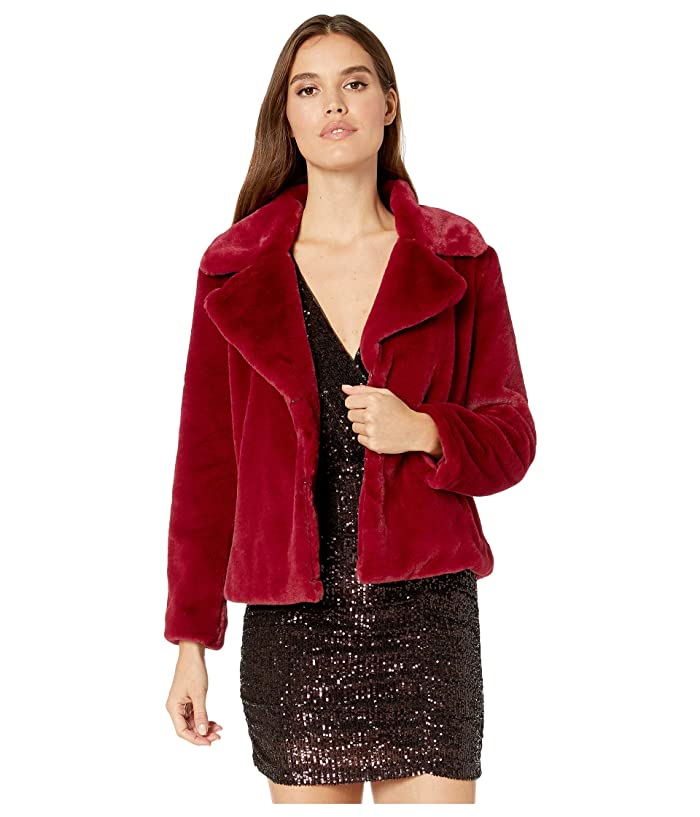 1.STATE  Faux Mink Collared Jacket (Deep Rouge) Womens Clothing