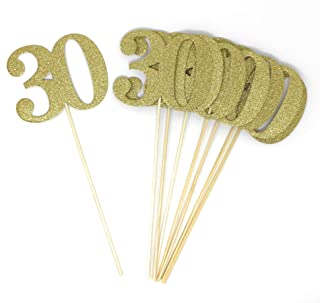 Set of 8 Number 30 Centerpiece Sticks for Thirty Anniversary Reunion 30th Birthday (Gold)
